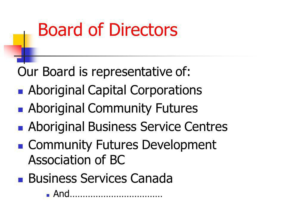 Our Board is representative of: Aboriginal Capital Corporations Aboriginal Community Futures Aboriginal Business Service Centres Community Futures Development Association of BC Business Services Canada And……………………………… Board of Directors