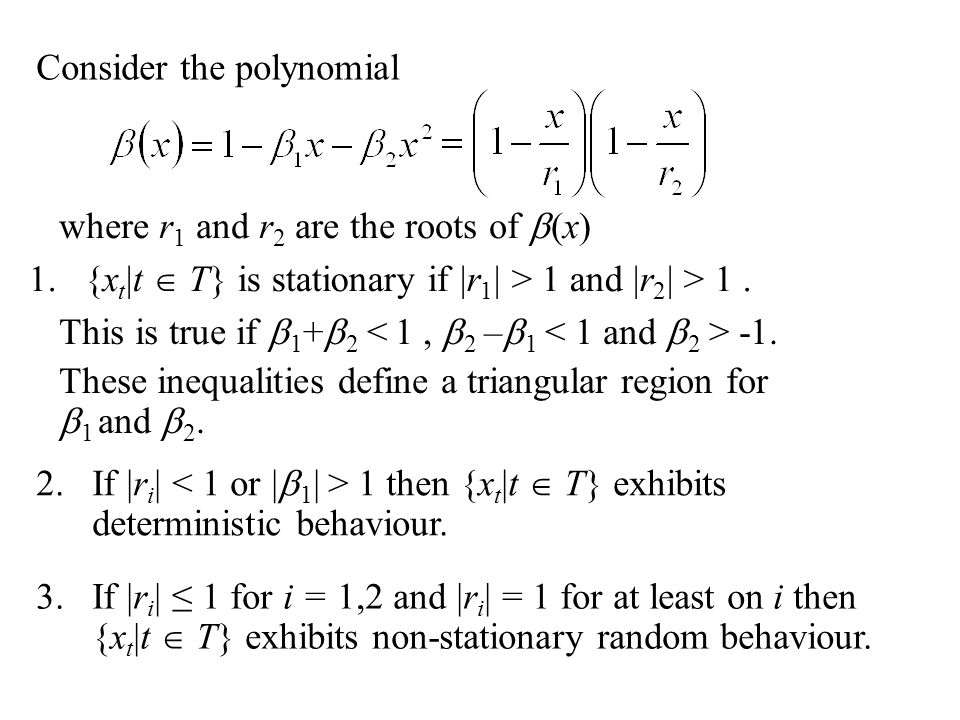 Consider the polynomial where r 1 and r 2 are the roots of  (x) 1.{x t |t  T} is stationary if |r 1 | > 1 and |r 2 | > 1. 2.If |r i | 1 then {x t |t