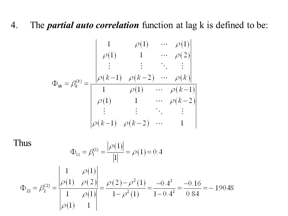 4.The partial auto correlation function at lag k is defined to be: Thus