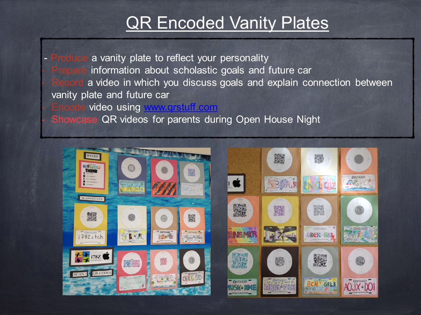 QR Encoded Vanity Plates - Produce a vanity plate to reflect your personality -Prepare information about scholastic goals and future car -Record a video in which you discuss goals and explain connection between vanity plate and future car -Encode video using www.qrstuff.comwww.qrstuff.com -Showcase QR videos for parents during Open House Night