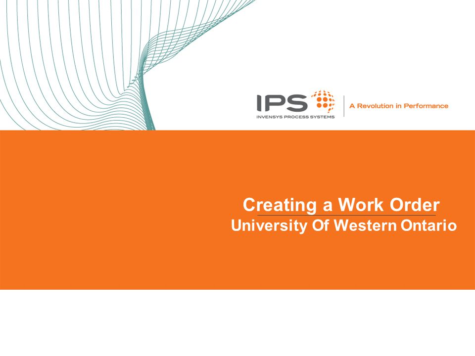Creating a Work Order University Of Western Ontario