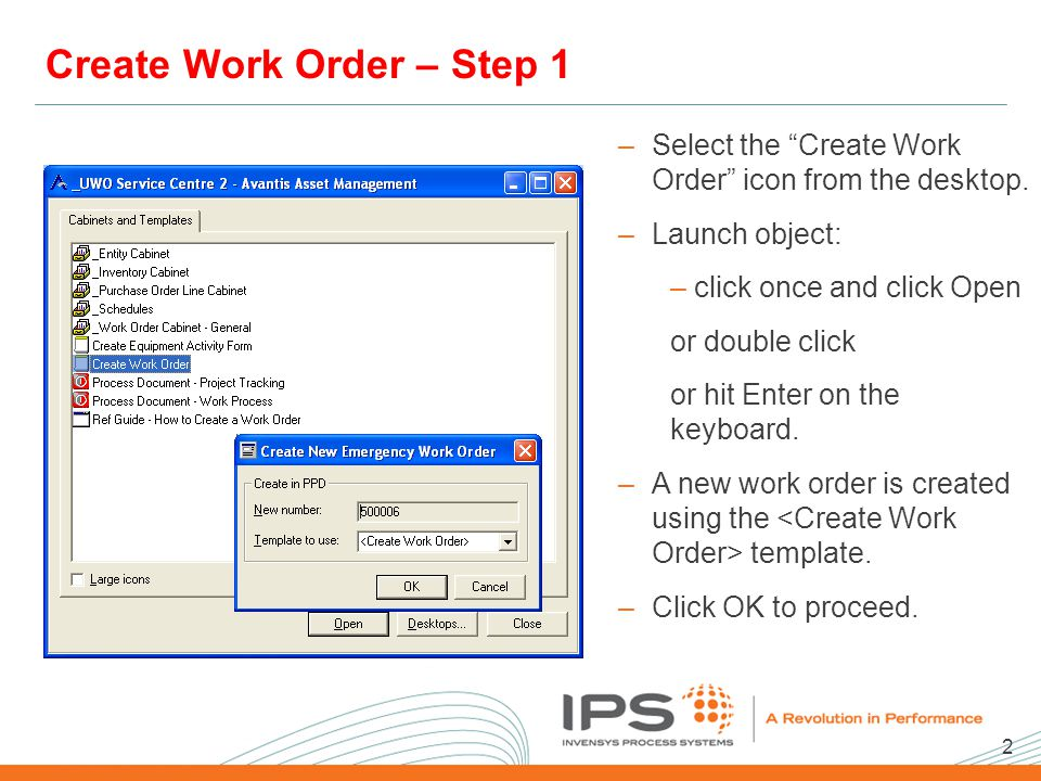 2 2008 NA Client Conference Template Create Work Order – Step 1 –Select the Create Work Order icon from the desktop.