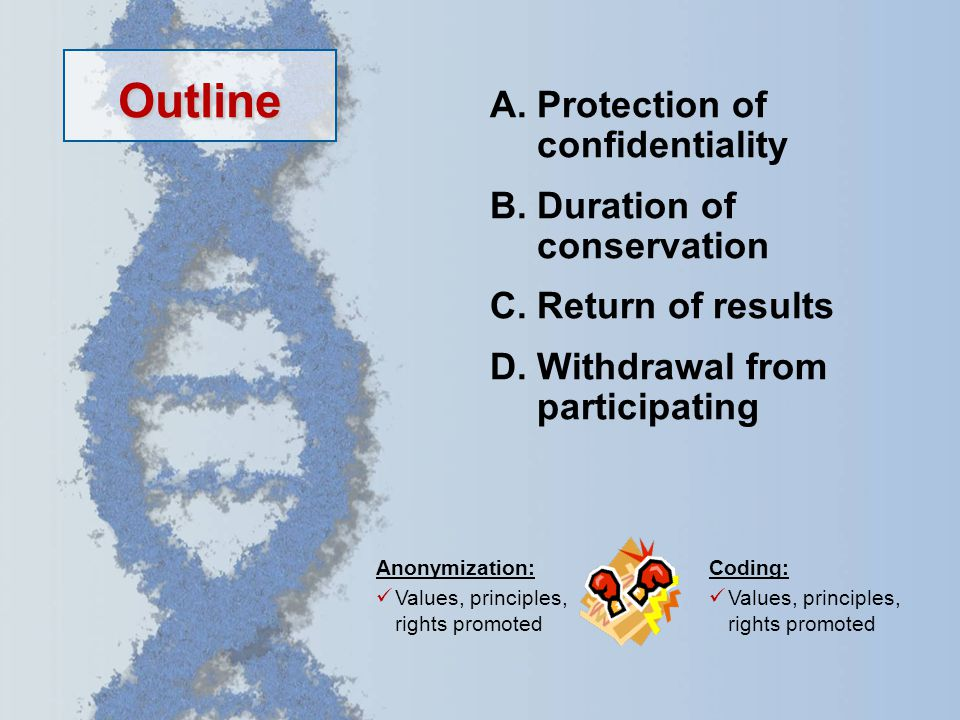 A.Protection of confidentiality B.Duration of conservation C.Return of results D.Withdrawal from participating Outline Coding: Values, principles, rights promoted Anonymization: Values, principles, rights promoted