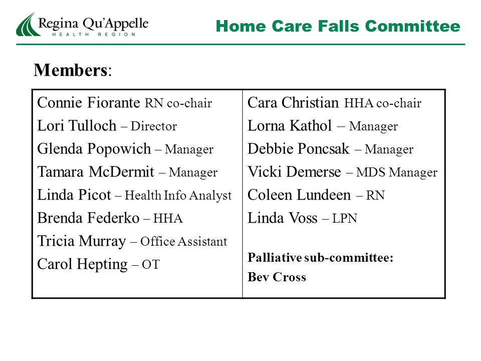 Home Care Falls Committee Members: Connie Fiorante RN co-chair Lori Tulloch – Director Glenda Popowich – Manager Tamara McDermit – Manager Linda Picot – Health Info Analyst Brenda Federko – HHA Tricia Murray – Office Assistant Carol Hepting – OT Cara Christian HHA co-chair Lorna Kathol – Manager Debbie Poncsak – Manager Vicki Demerse – MDS Manager Coleen Lundeen – RN Linda Voss – LPN Palliative sub-committee: Bev Cross
