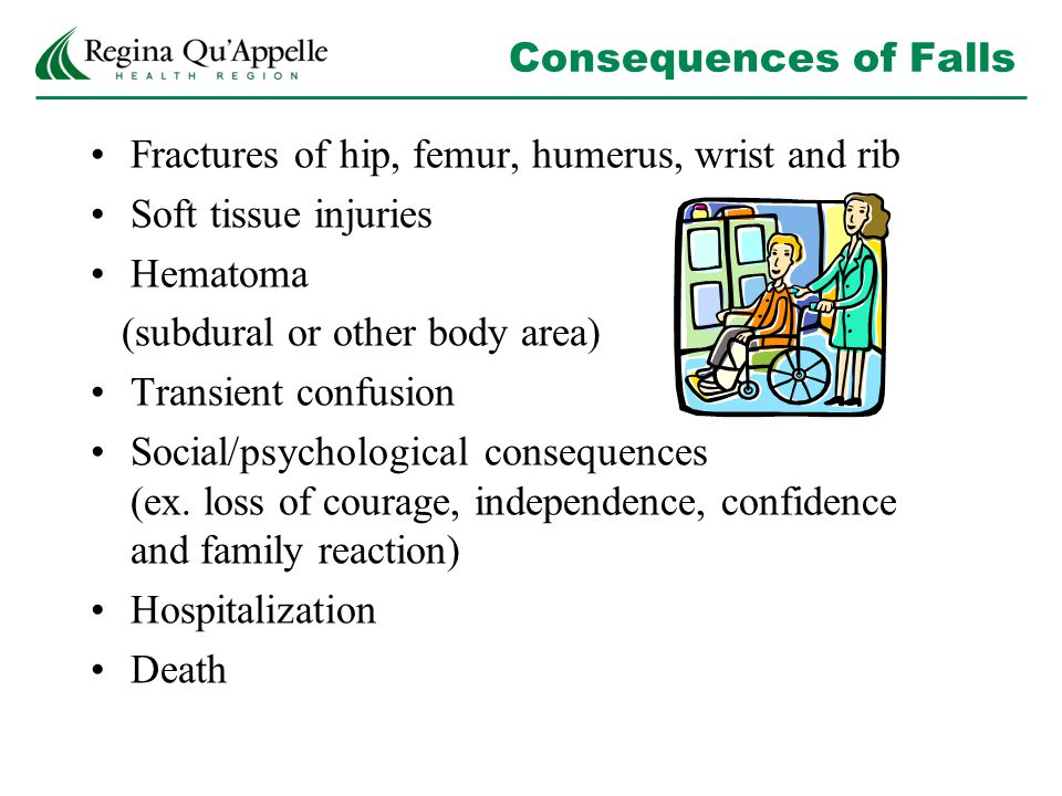 Consequences of Falls Fractures of hip, femur, humerus, wrist and rib Soft tissue injuries Hematoma (subdural or other body area) Transient confusion