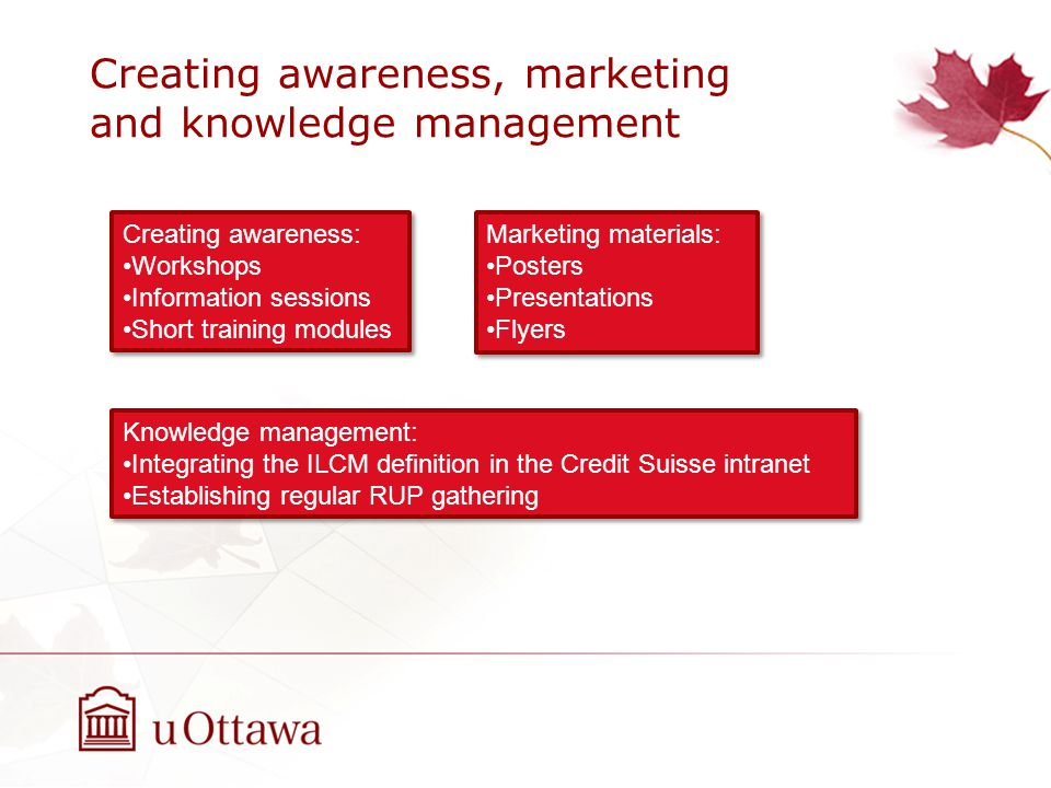Creating awareness, marketing and knowledge management Creating awareness: Workshops Information sessions Short training modules Creating awareness: Workshops Information sessions Short training modules Marketing materials: Posters Presentations Flyers Marketing materials: Posters Presentations Flyers Knowledge management: Integrating the ILCM definition in the Credit Suisse intranet Establishing regular RUP gathering Knowledge management: Integrating the ILCM definition in the Credit Suisse intranet Establishing regular RUP gathering