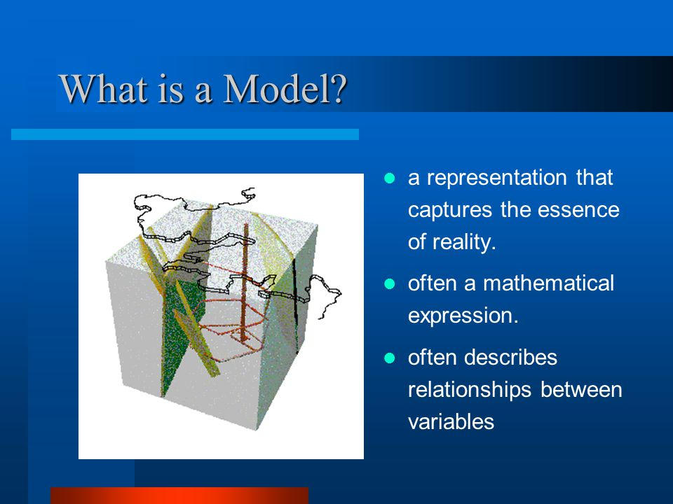 What is a Model. a representation that captures the essence of reality.