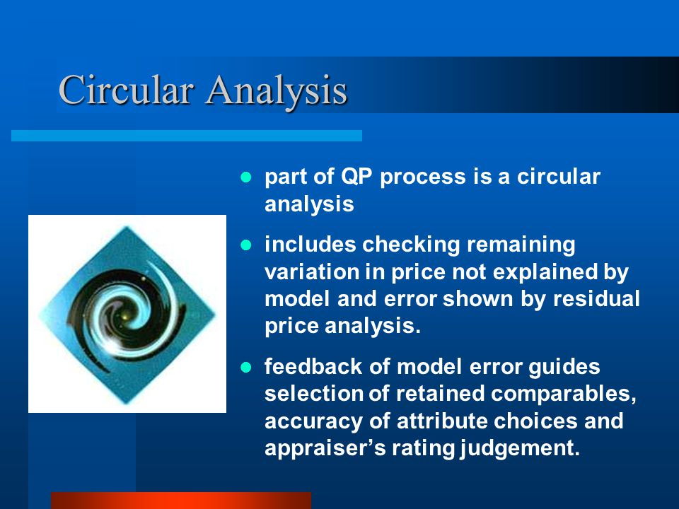 Circular Analysis part of QP process is a circular analysis includes checking remaining variation in price not explained by model and error shown by residual price analysis.