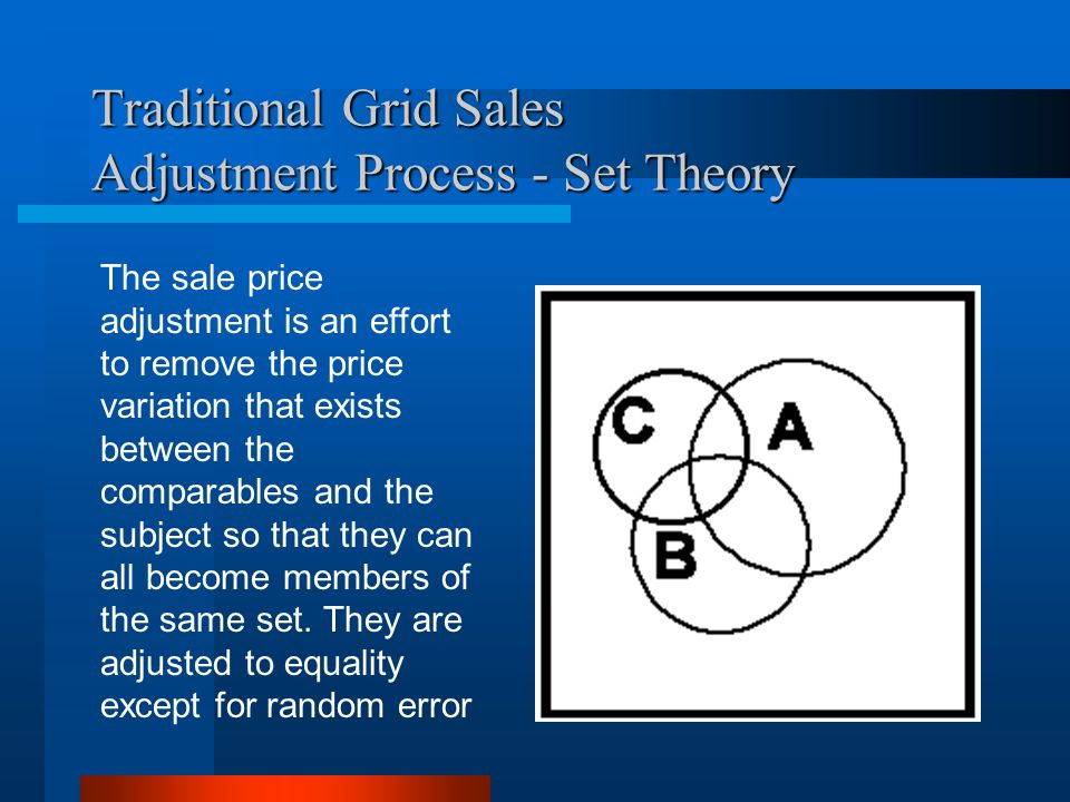 Traditional Grid Sales Adjustment Process - Set Theory The sale price adjustment is an effort to remove the price variation that exists between the comparables and the subject so that they can all become members of the same set.