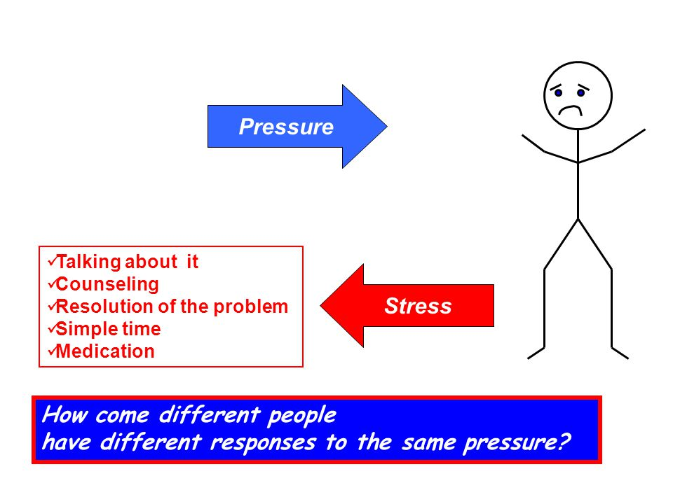 Pressure Stress Talking about it Counseling Resolution of the problem Simple time Medication How come different people have different responses to the same pressure