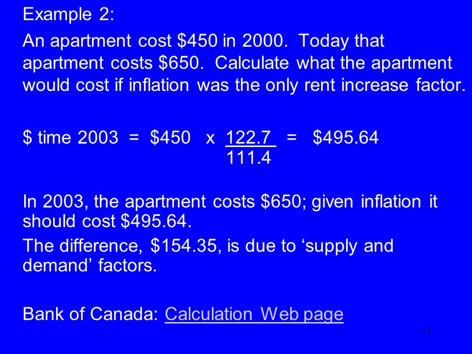 11 Example 2: An apartment cost $450 in 2000. Today that apartment costs $650.