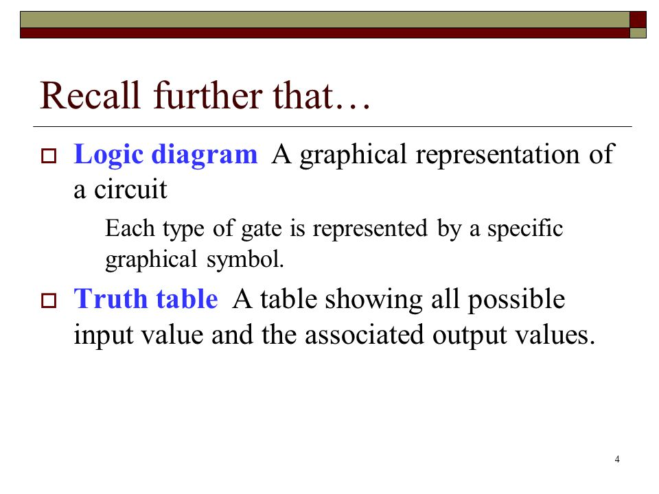 4 Recall further that…  Logic diagram A graphical representation of a circuit Each type of gate is represented by a specific graphical symbol.  Trut