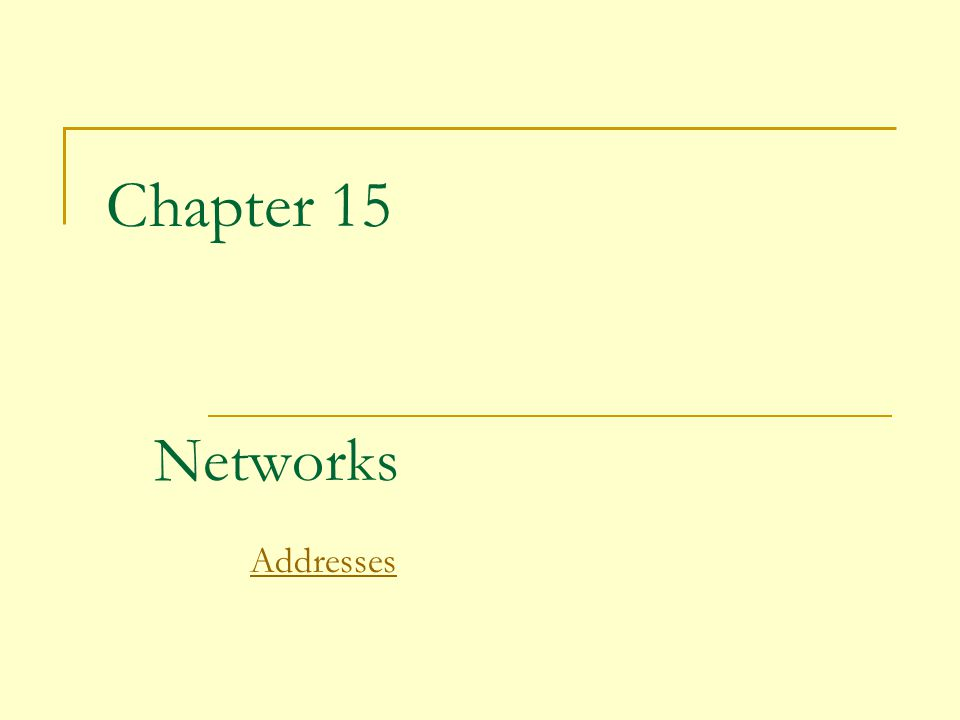 Chapter 15 Networks Addresses