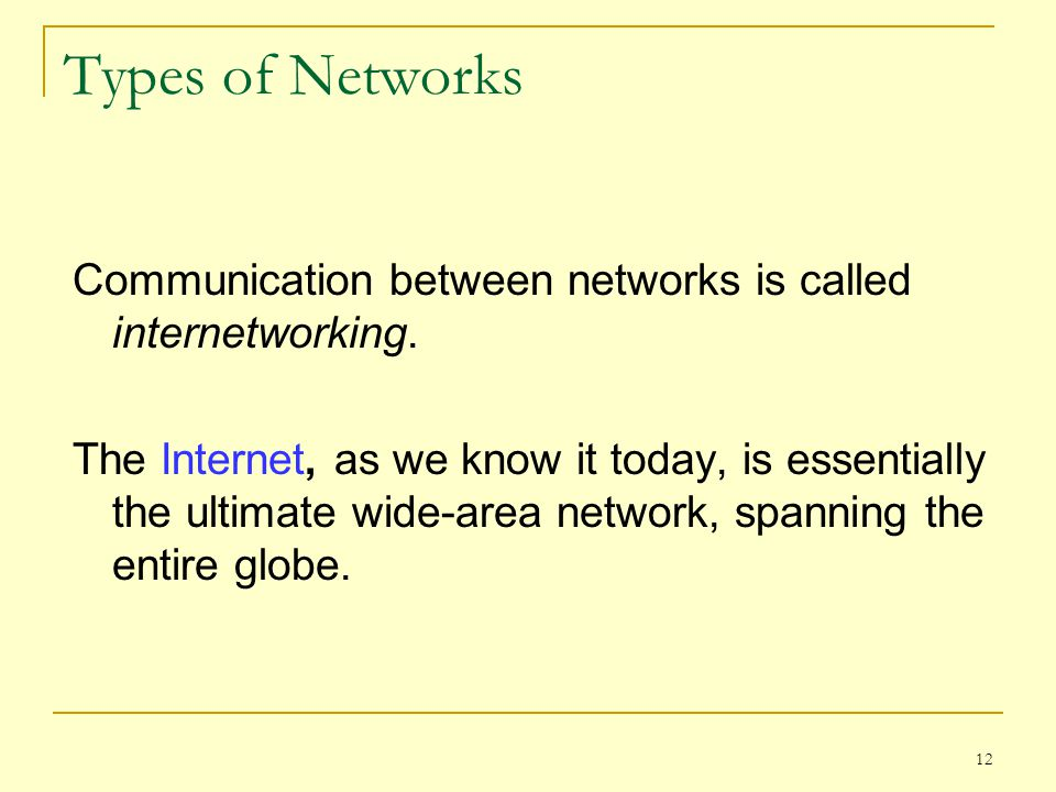 12 Types of Networks Communication between networks is called internetworking. The Internet, as we know it today, is essentially the ultimate wide-are