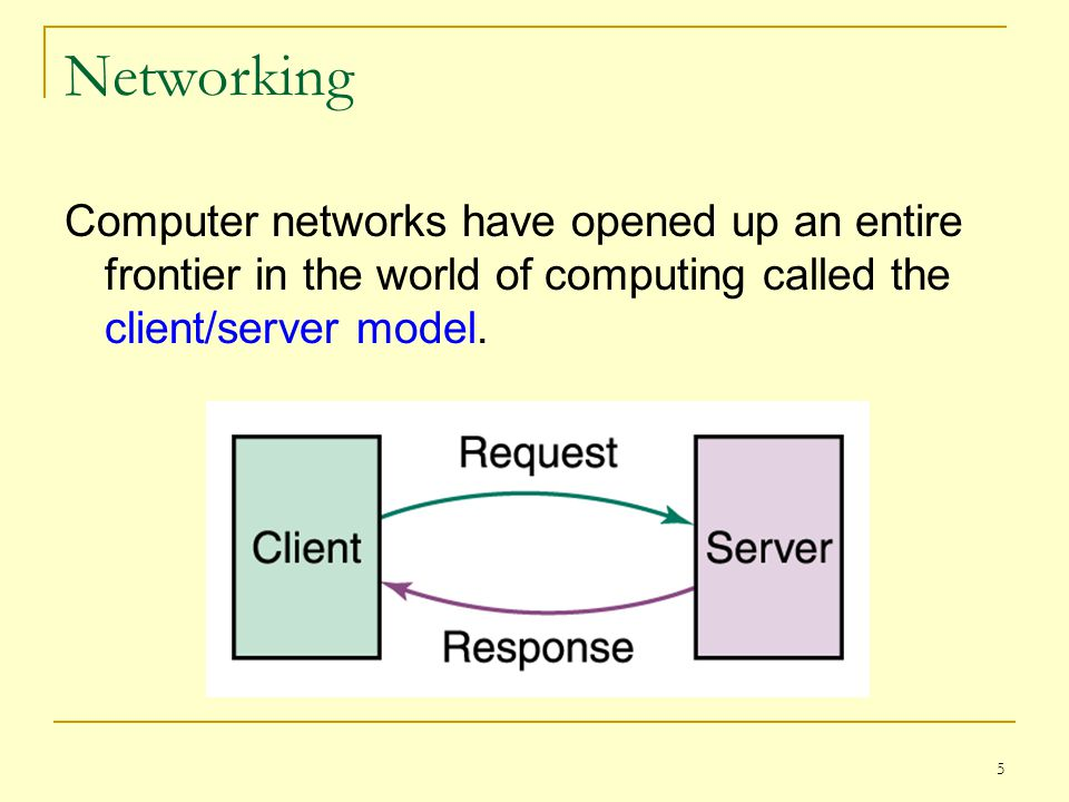 5 Networking Computer networks have opened up an entire frontier in the world of computing called the client/server model.