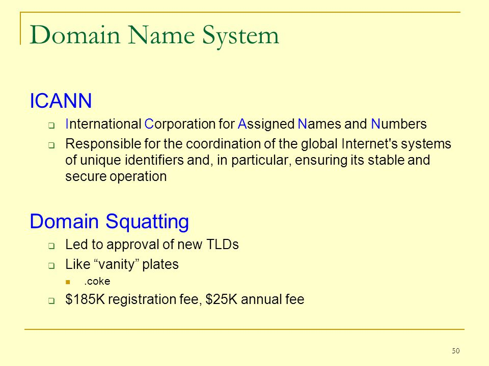 Domain Name System ICANN  International Corporation for Assigned Names and Numbers  Responsible for the coordination of the global Internet's system