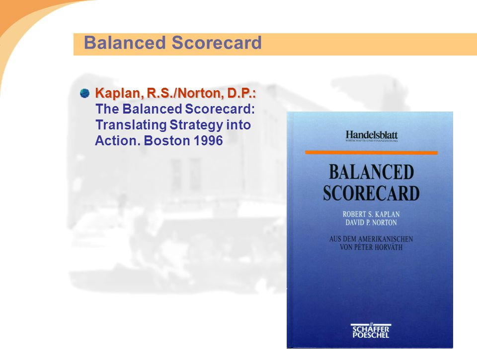 Balanced Scorecard Kaplan, R.S./Norton, D.P.: Kaplan, R.S./Norton, D.P.: The Balanced Scorecard: Translating Strategy into Action. Boston 1996