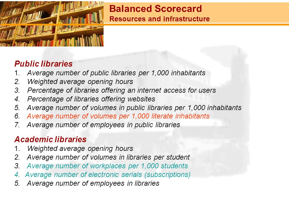 Balanced Scorecard Resources and infrastructure Public libraries 1. Average number of public libraries per 1,000 inhabitants 2. Weighted average openi