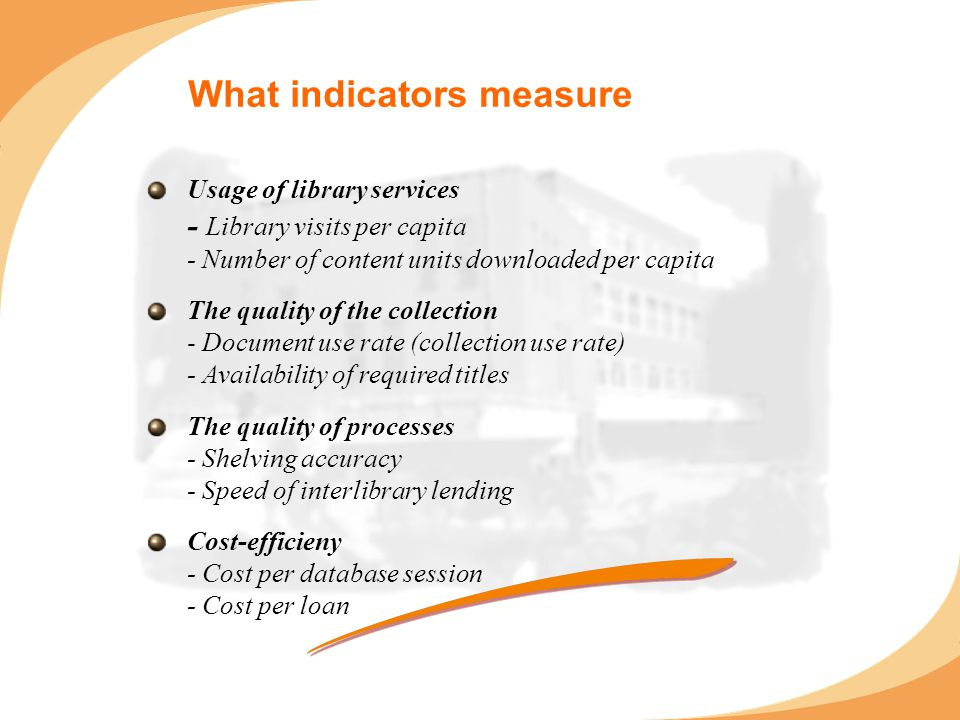 What indicators measure Usage of library services - Library visits per capita - Number of content units downloaded per capita The quality of the collection - Document use rate (collection use rate) - Availability of required titles The quality of processes - Shelving accuracy - Speed of interlibrary lending Cost-efficieny - Cost per database session - Cost per loan
