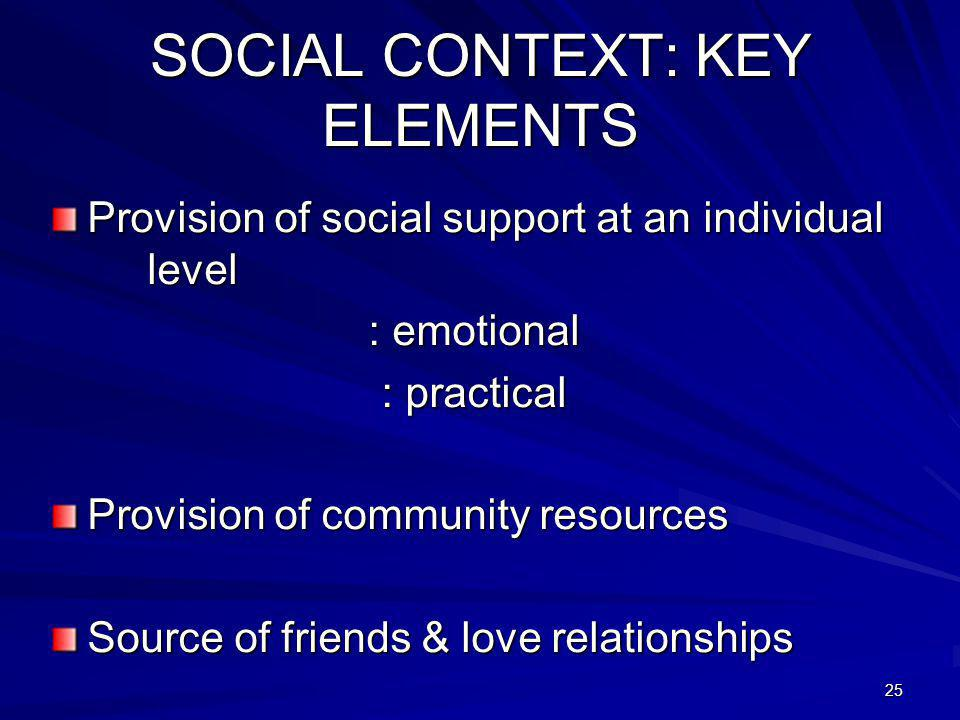 25 SOCIAL CONTEXT: KEY ELEMENTS Provision of social support at an individual level : emotional : practical Provision of community resources Source of friends & love relationships