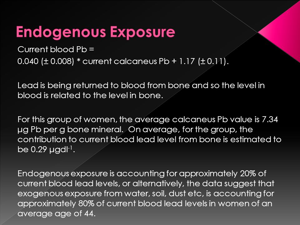 Current blood Pb = 0.040 (± 0.008) * current calcaneus Pb + 1.17 (± 0.11).