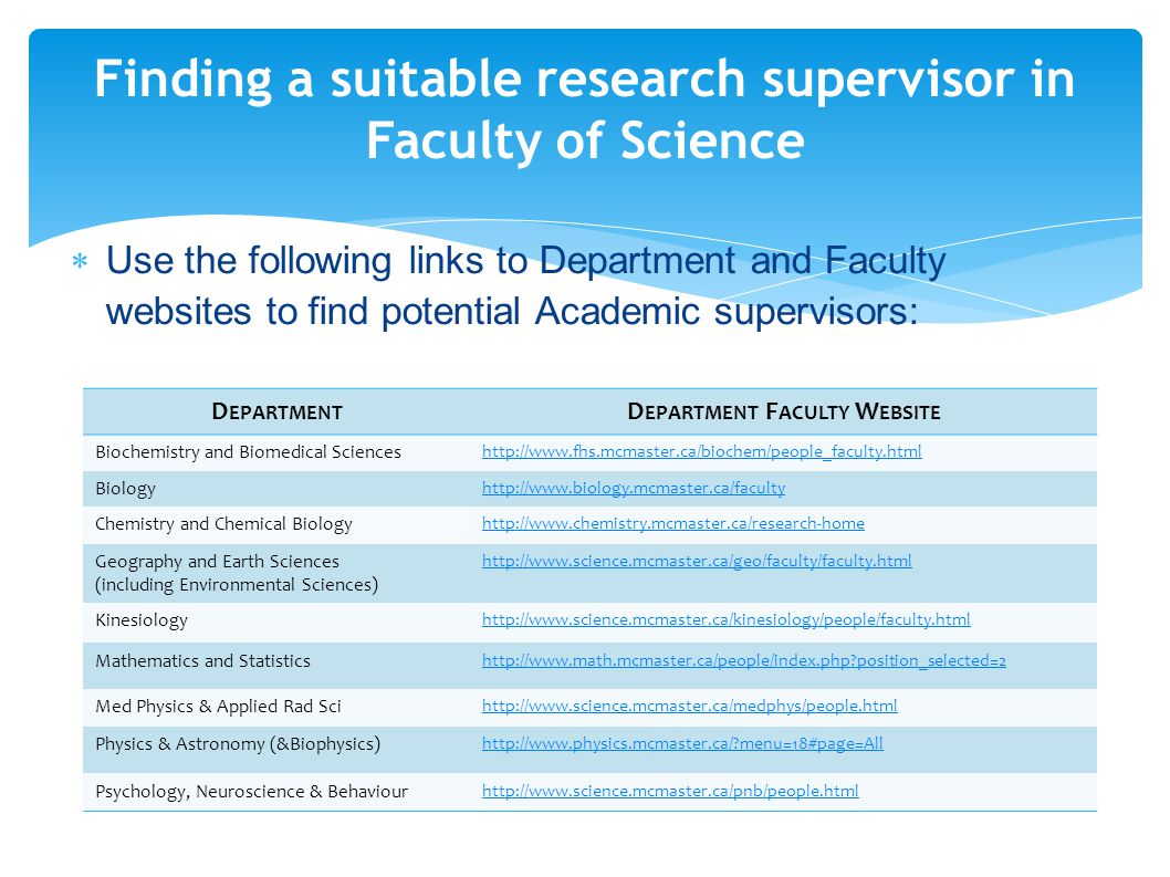  Use the following links to Department and Faculty websites to find potential Academic supervisors: Finding a suitable research supervisor in Faculty