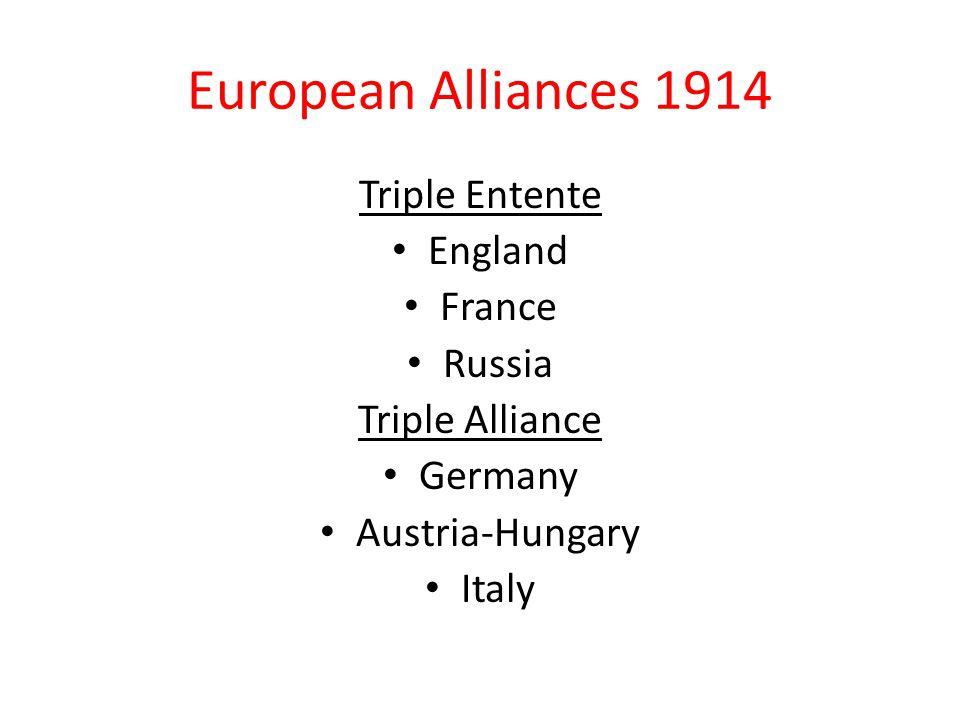 European Alliances 1914 Triple Entente England France Russia Triple Alliance Germany Austria-Hungary Italy