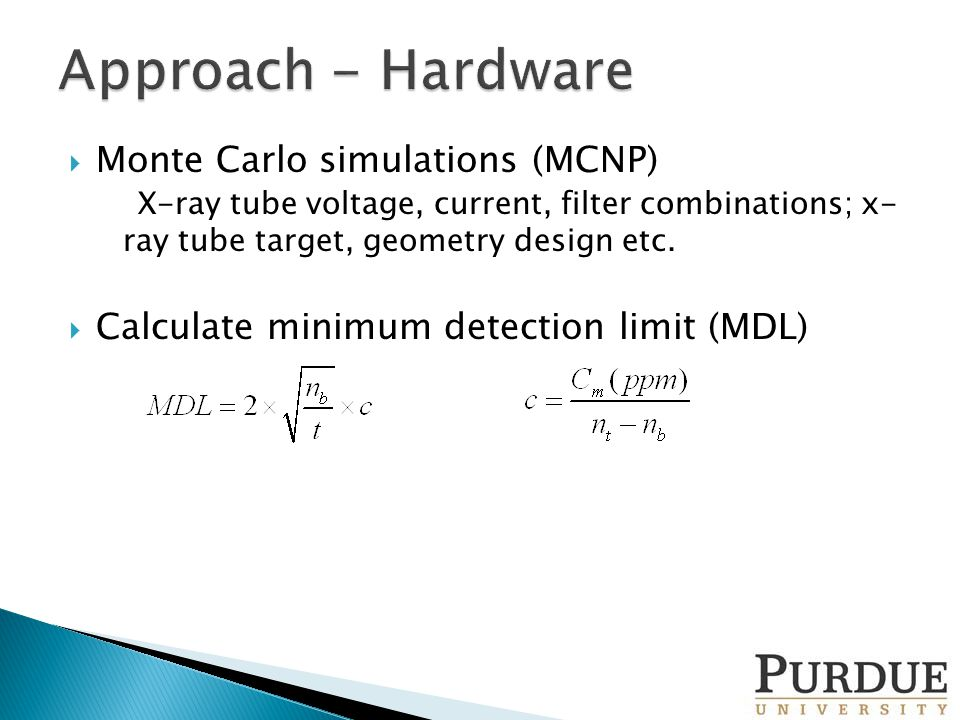  Monte Carlo simulations (MCNP) X-ray tube voltage, current, filter combinations; x- ray tube target, geometry design etc.