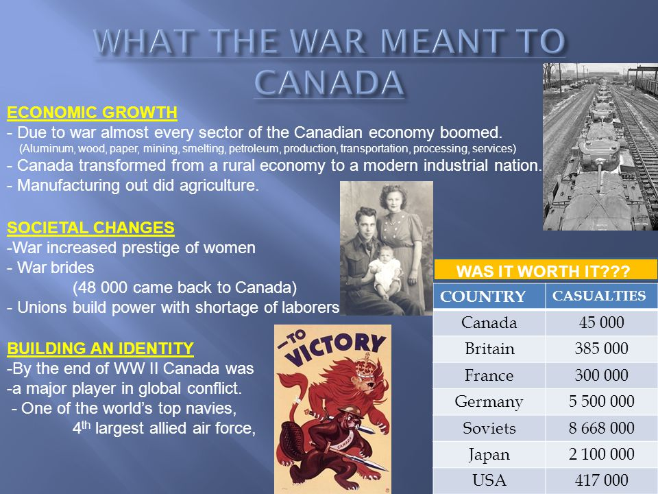 ECONOMIC GROWTH - Due to war almost every sector of the Canadian economy boomed.