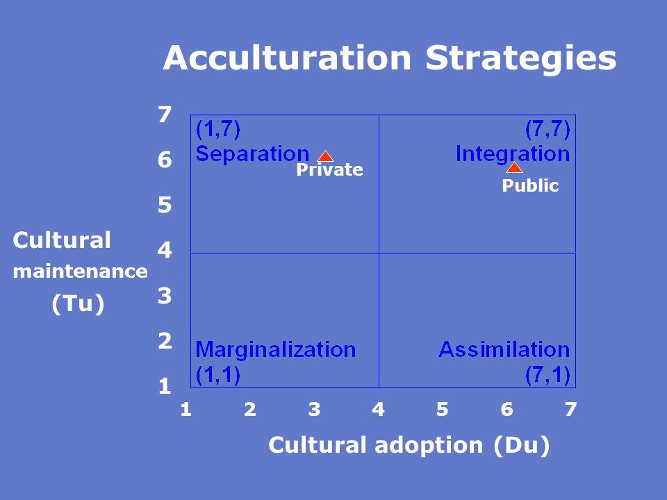 76543217654321 Cultural adoption (Du) Cultural maintenance (Tu) 1 2 3 4 5 6 7 Acculturation Strategies Private Public