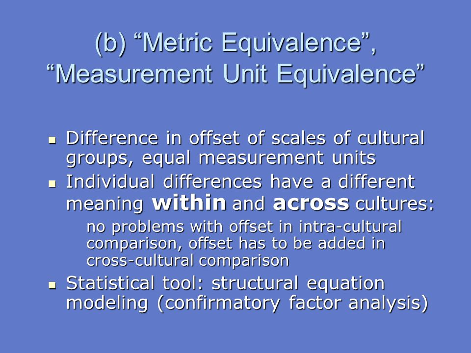 """(b) """"Metric Equivalence"""", """"Measurement Unit Equivalence"""" Difference in offset of scales of cultural groups, equal measurement units Difference in offs"""