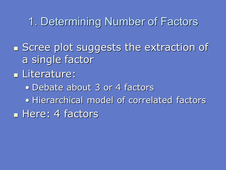 Scree plot suggests the extraction of a single factor Scree plot suggests the extraction of a single factor Literature: Literature: Debate about 3 or