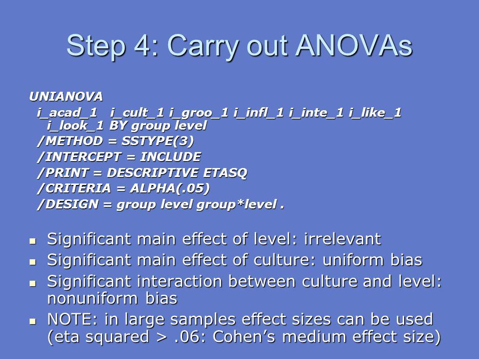 Step 4: Carry out ANOVAs UNIANOVA i_acad_1 i_cult_1 i_groo_1 i_infl_1 i_inte_1 i_like_1 i_look_1 BY group level i_acad_1 i_cult_1 i_groo_1 i_infl_1 i_