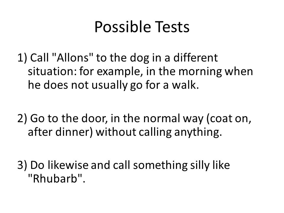 Conclusions Notice that these tests do not tell us anything of a dog s ability to learn French words.