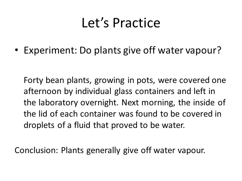 Let's Practice Experiment: Do plants give off water vapour? Forty bean plants, growing in pots, were covered one afternoon by individual glass contain