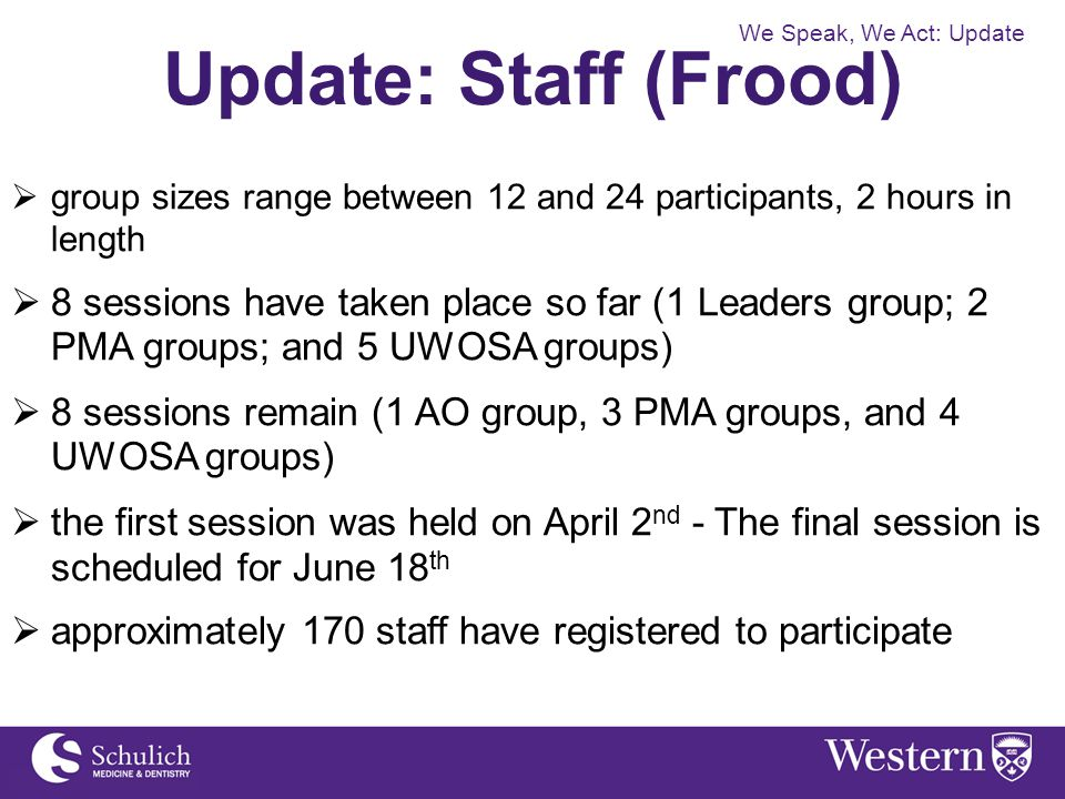 Update: Staff (Frood)  group sizes range between 12 and 24 participants, 2 hours in length  8 sessions have taken place so far (1 Leaders group; 2 P