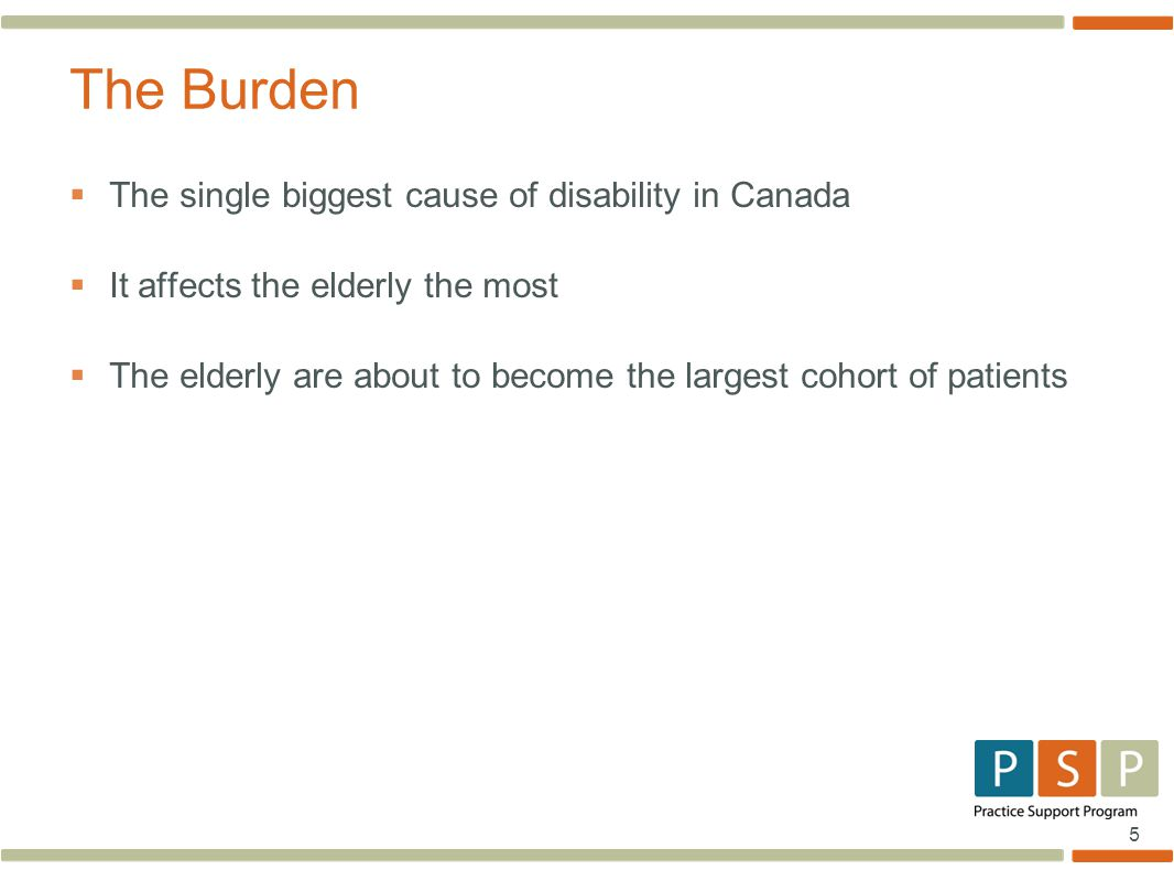 5  The single biggest cause of disability in Canada  It affects the elderly the most  The elderly are about to become the largest cohort of patients The Burden