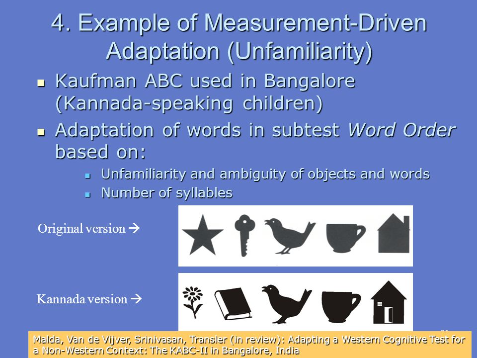 36 4. Example of Measurement-Driven Adaptation (Unfamiliarity) Kaufman ABC used in Bangalore (Kannada-speaking children) Kaufman ABC used in Bangalore