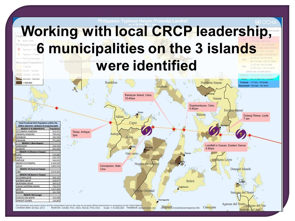 Living Justice, Loving Mercy, Serving Christ Working with local CRCP leadership, 6 municipalities on the 3 islands were identified