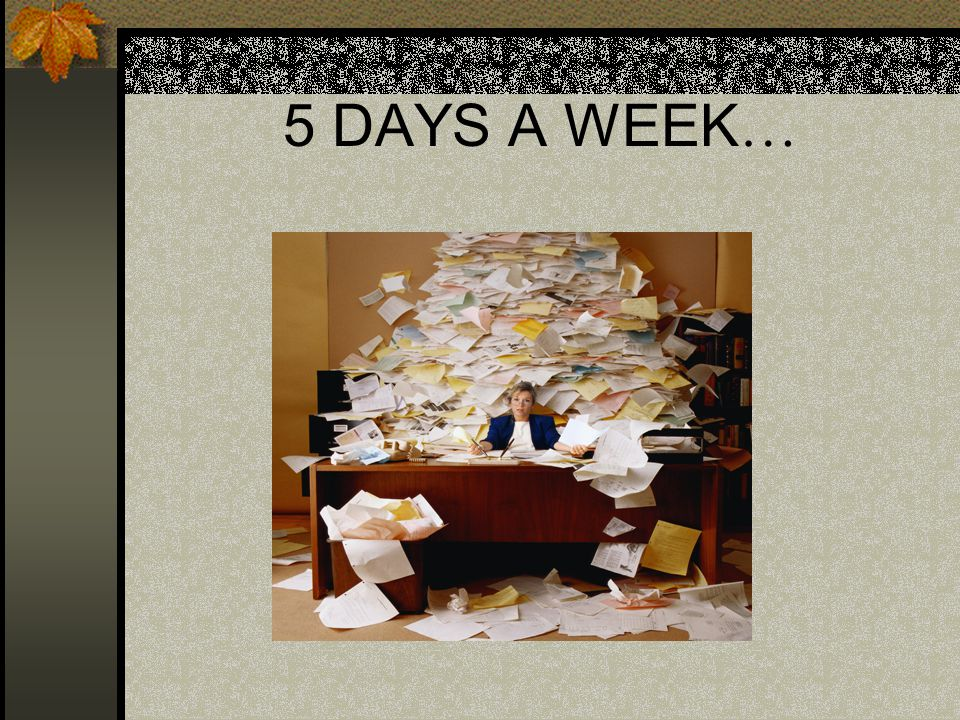 5 DAYS A WEEK …