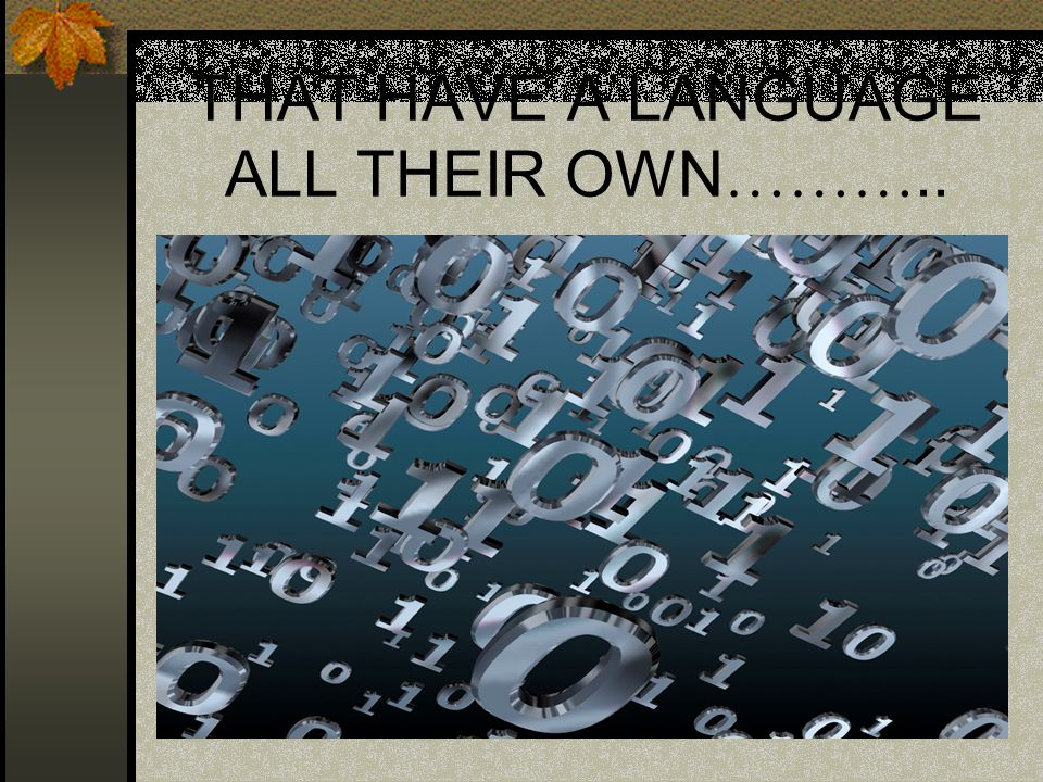 THAT HAVE A LANGUAGE ALL THEIR OWN ………..