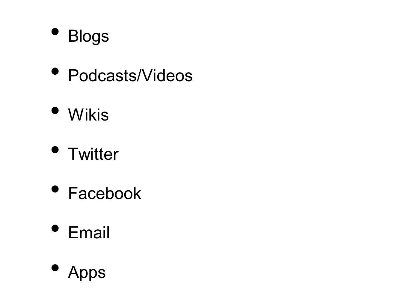 Blogs Podcasts/Videos Wikis Twitter Facebook  Apps