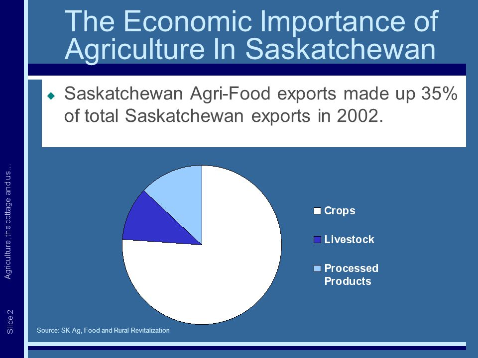 Agriculture, the cottage and us… Slide 2 The Economic Importance of Agriculture In Saskatchewan  Saskatchewan Agri-Food exports made up 35% of total Saskatchewan exports in 2002.