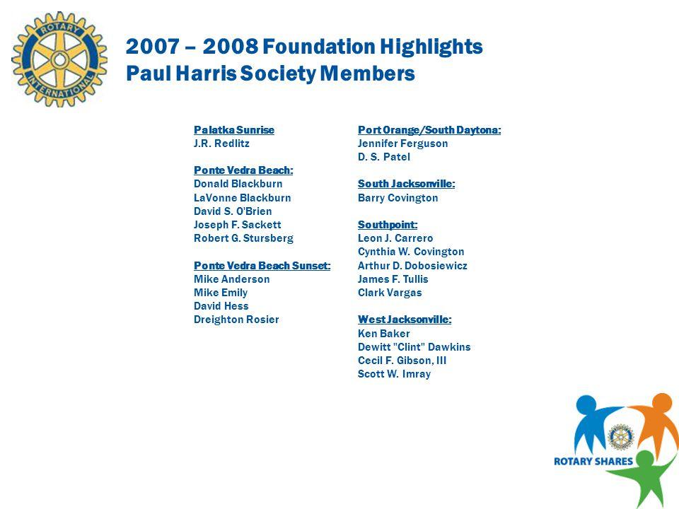 2007 – 2008 Foundation Highlights Paul Harris Society Members Arlington Bruce Duggar Robert Fankhauser Daytona Beach Peter Brooker Richard C.