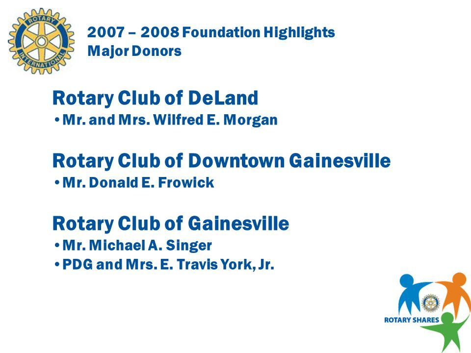2007 – 2008 Foundation Highlights Major Donors Rotary Club of Daytona Beach West Mr.