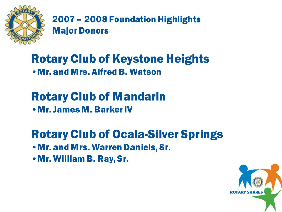 2007 – 2008 Foundation Highlights Major Donors Rotary Club of Greater Gainesville Mr.