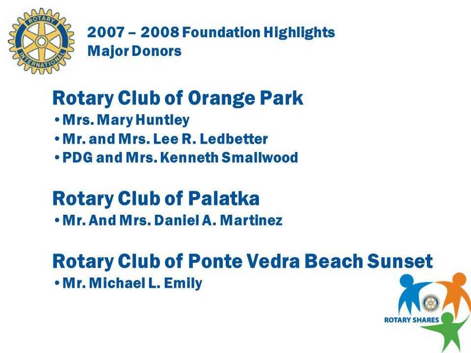 2007 – 2008 Foundation Highlights Major Donors Rotary Club of Keystone Heights Mr.