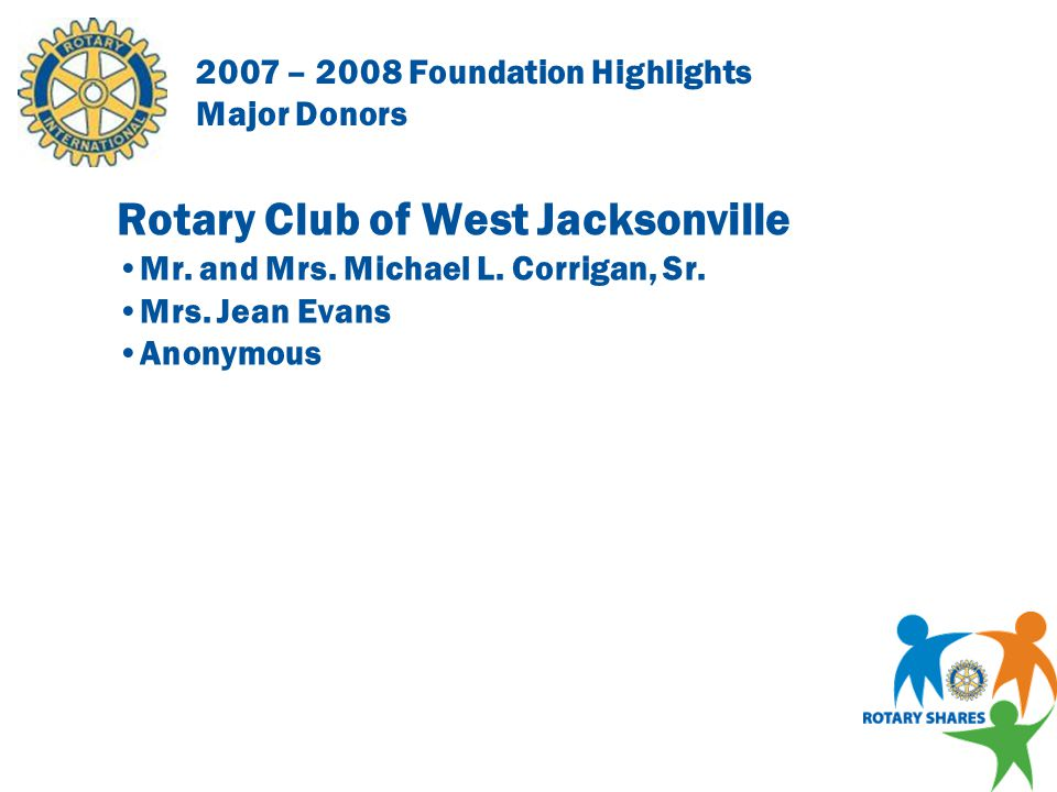 2007 – 2008 Foundation Highlights Major Donors Rotary Club of Ponte Vedra Beach Mr.
