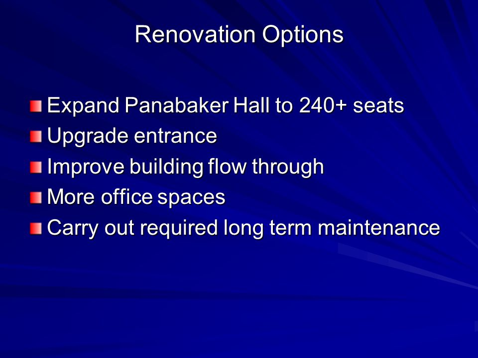 Renovation Options Expand Panabaker Hall to 240+ seats Upgrade entrance Improve building flow through More office spaces Carry out required long term maintenance