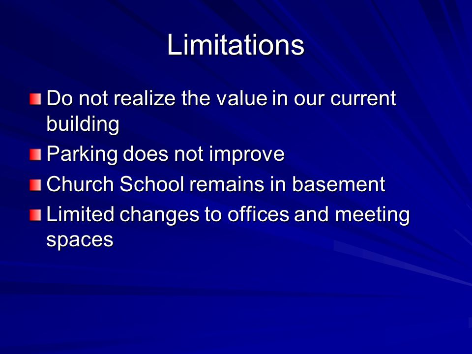 Limitations Do not realize the value in our current building Parking does not improve Church School remains in basement Limited changes to offices and